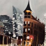 """Flat Iron Building at Night - 11"""" x 14"""" and 36"""" x 30"""""""